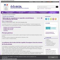 Formation des enseignants - Référentiel de compétences et capacités caractéristiques d'un professeur des écoles