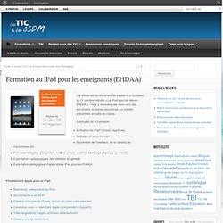 Formation au iPad pour les enseignants (EHDAA)