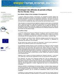 Former des enseignants européens - Développer des attitudes de pensée critique
