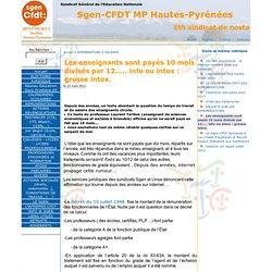Les enseignants sont payés 10 mois divisés par 12..... info ou intox : grosse intox. - Sgen-CFDT MP Hautes-Pyrénées