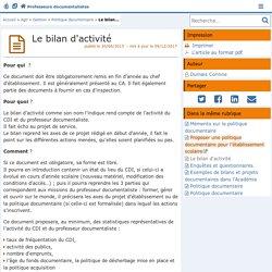 Le bilan d'activité- Les Enseignants Documentalistes de l'Académie de Poitiers