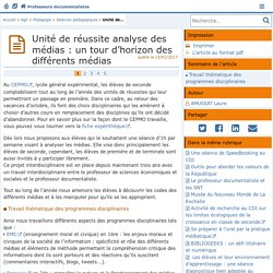 Unité de réussite analyse des médias : un tour d'horizon des différents médias- Les Enseignants Documentalistes de l'Académie de Poitiers