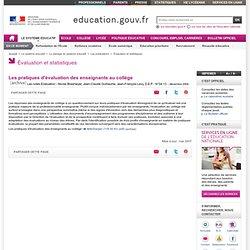 Les pratiques d'évaluation des enseignants au collège - Ministère de l'éducation nationale