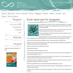GGuide rapide pour les enseignants - Association Elisabeth d'Ornano para el Trouble de déficit de l'attention/hyperactivité (TDAH)