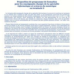 """Formation des enseignants de la spécialité """"Informatique et sciences du numérique"""" en terminale S"""