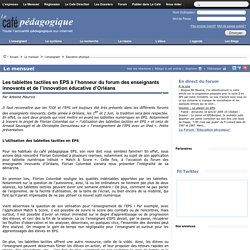 Les tablettes tactiles en EPS à l'honneur du forum des enseignants innovants et de l'innovation éducative d'Orléans
