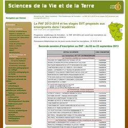 Le PAF 2013-2014 et les stages SVT proposés aux enseignants dans l'académie