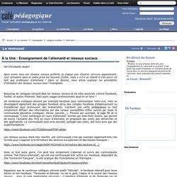 À la Une : Enseignement de l'allemand et réseaux sociaux