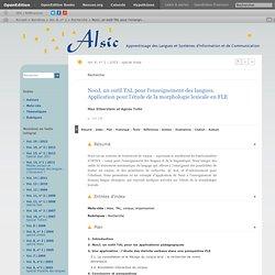 NooJ, un outil TAL pour l'enseignement des langues. Application pour l'étude de la morphologie lexicale en FLE - Vimperator