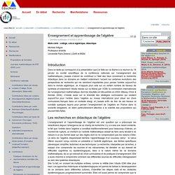 Enseignement et apprentissage de l'algèbre