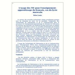 L'usage des TIC pour l'enseignement-apprentissage du français, cas du lycée marocain