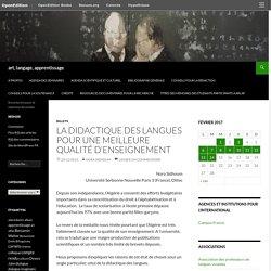 La didactique des langues pour une meilleure qualité d'enseignement