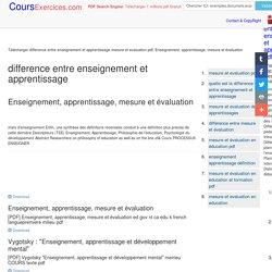 Télécharger difference entre enseignement et apprentissage mesure et evaluation pdf, Enseignement, apprentissage, mesure et évaluation PDF