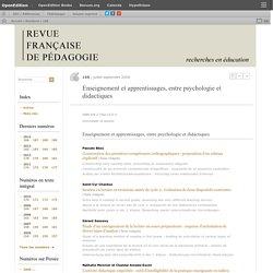 juillet-septembre 2009 Enseignement et apprentissages, entre psychologie et didactiques