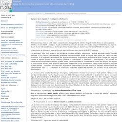 Enseignement 2016-2017 — Langue des signes et pratiques artistiques : HABU