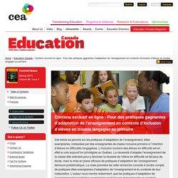 Contenu exclusif en ligne - Pour des pratiques gagnantes d'adaptation de l'enseignement en contexte d'inclusion d'élèves en trouble langagier au primaire