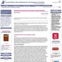 Enseignement prcoce du Franais Langue Etrangre - APLV-Langues Modernes