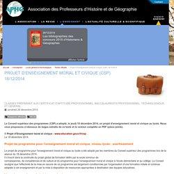 Projet d'Enseignement moral et civique (CSP) 18/12/2014 - Association des Professeurs d'Histoire et de Géographie