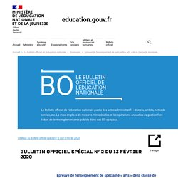Épreuve de l'enseignement de spécialité « arts » de la classe de terminale de la voie générale à compter de la session 2021 de l'examen du baccalauréat