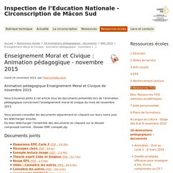 Enseignement Moral et Civique : Animation pédagogique - novembre (...) - Inspection de l'Education Nationale - Circonscription de Mâcon Sud