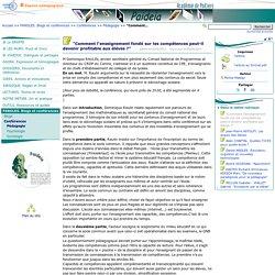 """""""Comment l'enseignement fondé sur les compétences peut-il devenir profitable aux élèves?"""" - Paideia, le site des CPE de l'académie de Poitiers"""