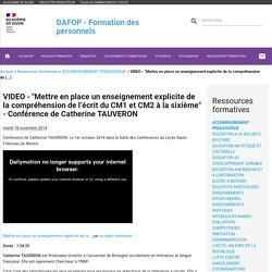 """VIDEO - """"Mettre en place un enseignement explicite de la compréhension de (...) - DAFOP"""