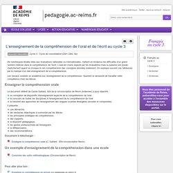 Enseigner Français CM1-CM2-dap - L'enseignement de la compréhension de l'oral et de l'écrit au cycle 3