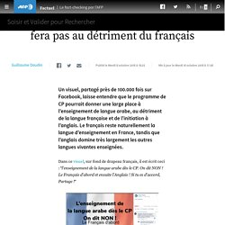 L'enseignement de l'arabe au CP ne se fera pas au détriment du français