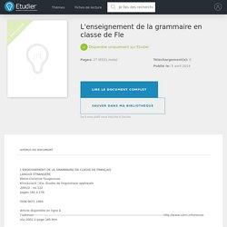L'enseignement de la grammaire en classe de Fle - Dissertations - Lau40240