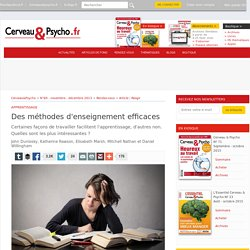 Article - Des méthodes d'enseignement efficaces