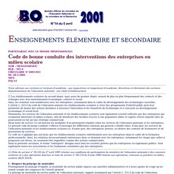 Bulletin Officiel de l'Education Nationale - N°14 du 5 avril 2001 - Enseignement élémentaire et secondaire