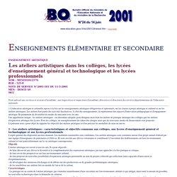 Ministère de l'éducation nationale : Bulletin Officiel - N°24 du 14 juin 2001 - Enseignement élémentaire et secondaire