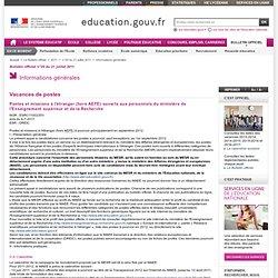 Postes et missions à l'étranger Ministère de l'Enseignement supérieur