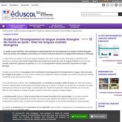 Langues vivantes - Guide pour l'enseignement en langue vivante étrangère