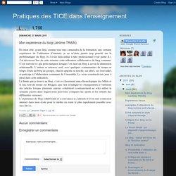 Pratiques des TICE dans l'enseignement: Mon expérience du blog (Jérôme TRAIN)