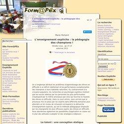 L'enseignement explicite : la pédagogie des champions !
