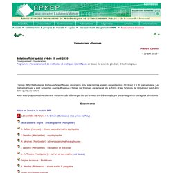 Enseignement d'exploration MPS - Ressources diverses