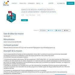 Ligue de l'enseignement - Fédération de Paris recherche CHARGÉ·E DE MISSION « NUMÉRIQUE ÉDUCATIF »
