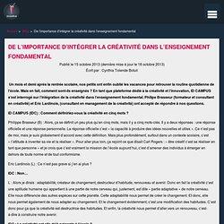 De l'importance d'intégrer la créativité dans l'enseignement fondamental – idcampus.be