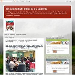 L'ENSEIGNEMENT EFFICACE : FONDEMENTS ET PRATIQUES (VOLET ENSEIGNEMENT)