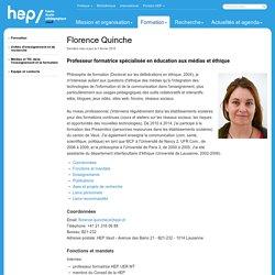 Florence Quinche - Equipe et contacts - Médias et TIC dans l'enseignement et la formation - Unités d'enseignement et de recherche - Formation