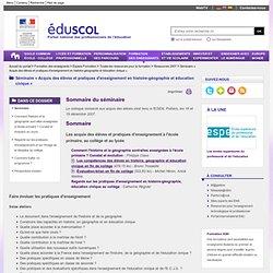 Séminaire « Acquis des élèves et pratiques d'enseignement en histoire-géographie et éducation civique » - Sommaire