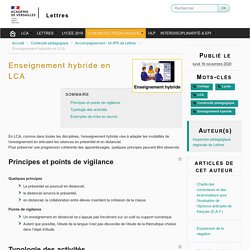 LCA Enseignement hybride en LCA