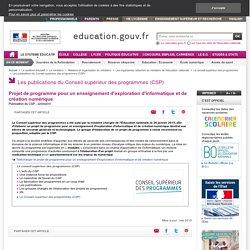 Projet de programme pour un enseignement d'exploration d'informatique et de création numérique