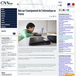 Avis du Conseil national du numérique sur l'enseignement de l'informatique en France