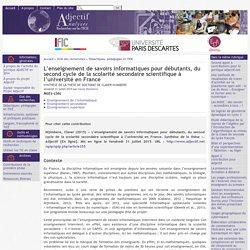 L'enseignement de savoirs informatiques pour débutants, du second cycle de la scolarité secondaire scientifique à l'université en France