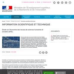Étude sur l'économie des revues de sciences humaines et sociales (SHS) - Ministère de l'Enseignement supérieur, de la Recherche et de l'Innovation