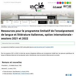 Ressources pour le programme limitatif de l'enseignement de langue et littérature italiennes, option internationale - sessions 2021 et 2022 — Italien