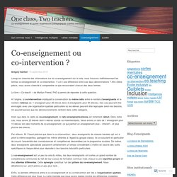 Co-enseignement ou co-intervention ?