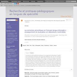 La correction phonétique en français langue étrangère: enseignement et évaluation en laboratoire multimédia